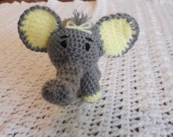 Ester a Crocheted Amigurumi Grey and Yellow Elephant