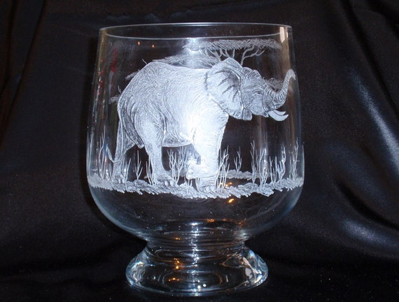 African Art Elephant Etched Glass Tusks Safari Candle