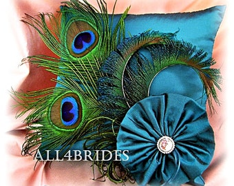Peacock wedding ring pillow, Teal ring bearer pillow, peacock feathers ring bearer cushion.