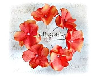 Coral Flower Hair Pins, Set of Six Coral Hydrangeas Flowers - Bridal Bridesmaid Hair Accessories, Spring, Summer, Destination Weddings
