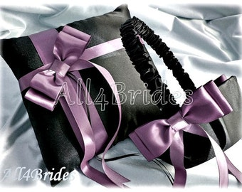 Wisteria and Black Wedding Pillow and Basket -  Ring Bearer Pillow and Flower Girl Basket, Weddings Ceremony Accessories