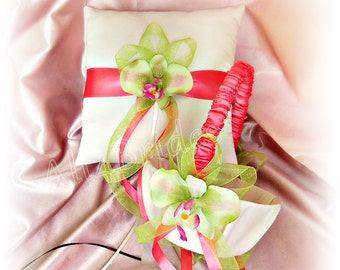Guava and green orchids ring bearer pillow and flower girl basket, weddings ceremony ., ring cushion and basket set