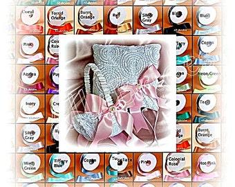 White rosette wedding ring pillow and basket.  Custom colors wedding ring bearer pillow and flower girl basket set.