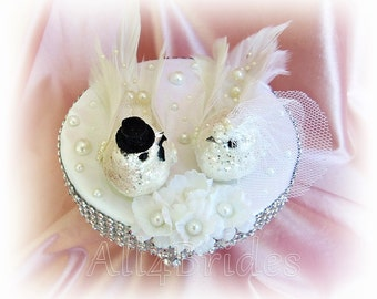 Lovebirds wedding cake topper, sparkly white doves cake topper, bride and groom love birds - READY TO SHIP