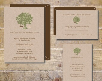 Recycled Wedding Invitations . Oak Tree Wedding Invites . Rustic Wedding Invitations . Tree Wedding Invitations - Swinging From The Oak Tree