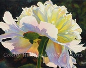 White Peony art watercolor print by Cathy Hillegas, 8x10, watercolor peony, giclee print, white, pink, yellow, blue, red, green, fine art