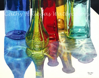 Glass Bottles in Sun Art Watercolor Painting Print by Cathy Hillegas, 8x10, Blue Green Red Yellow Teal Purple, watercolor bottle, fine art
