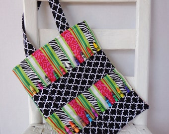 Geometric Animal Print Crayon Bag Art Accessories Girls Birthday Gift Crayon Roll Art Bag Toddler Girl