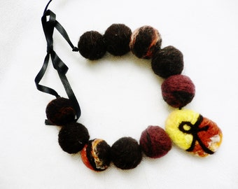 Together Always ... Necklace ... Hand Felted Beads ... Two in One ...