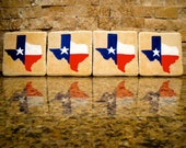 Set of 4 Porcelain coasters - Texas Red, White & Blue
