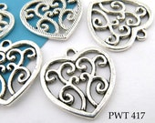 Filigree Heart Charm Pewter  Charm 21mm (PWT 417) BlueEchoBeads 12 pcs