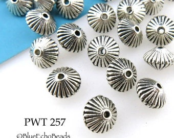 7mm Bicone Pewter Spacer Beads, Antique Silver, Top (PWT 257) 15 pcs BlueEchoBeads