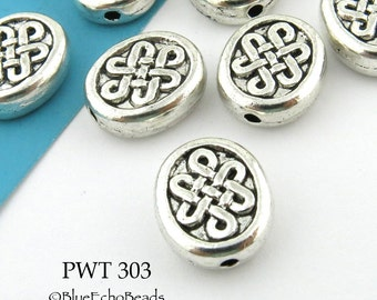 Celtic Oval Pewter Beads 12mm x10mm (PWT 303) 10pcs BlueEchoBeads