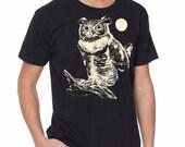 Owl t-shirt. Great Horned Owl, men's t-shirt, black graphic t-shirt, Moonlight, Gift for Him