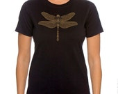 Dragonfly Women's Plus size Black T-shirt, Gold Print Steampunk, Jeweled Dragonfly Screenprint, Gift for Her