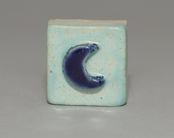 Handmade 2x2 ceramic moon tile