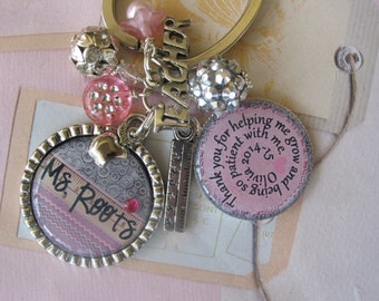 Personalized Teacher's keychain, end of year gift, appreciation gift