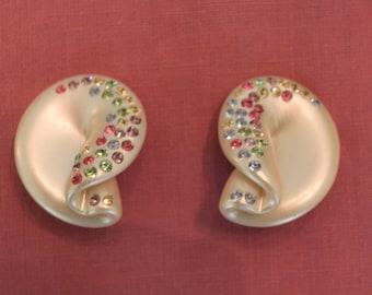 Vintage lucite rhinestone earrings