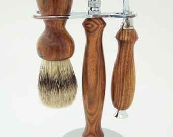 Chechen Wood 24mm Silvertip Badger Shaving Brush and Fusion Razor Gift Set (Handmade in USA)