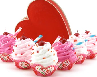 """Fake Cupcakes """"Dutch Heart Collection"""" Set of 6 Mini Cupcakes Can Be Ornaments or Magnets Fab Valentines Day or Birthday Decor"""