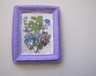 Porcelain miniature picture in lavender with lavender flowers