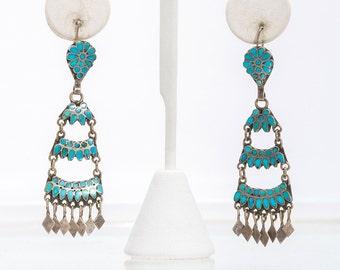 Zuni Dishta Earrings - Sterling Turquoise Ladder Dangles - 30s/40s Hand Made Hooks - Flush Inlay