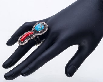 Turquoise & Coral Ring - 70s Navajo - BIG Sterling Signed  - sz 6 1/4