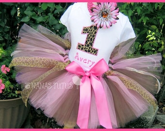 Cheetah with Number, Party Outfit, Safari, Theme Party, Birthday Tutu Set, Photo Shoot in Sizes 1 - 4yrs