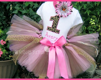 Cheetah with Number, Party Outfit, Safari, Theme Party, Birthday Tutu Set, Photo Shoot in Sizes 1 - 5yrs