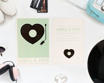 Modern Wedding Invitation - Retro Record Player Set