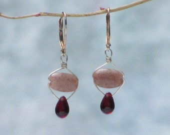 Ruby Red Glass Drop and Raspberry Stone Earrings