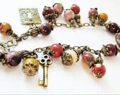 Mookaite Jasper Bracelet, Natural Stone Bracelet, Burgundy Mustard Brown, Antiqued Brass Bracelet, Earthy Gift For Her, Ready To Ship