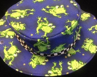 Reversible frog fishing hat newborn to adult//sunhat//kids sunhat//adult sunhat//chemo hat