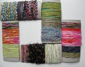 Scrapbooking embellishments, fiber art bundle yarn lot destash sample variety pack cards, purple green red blue yellow pink yellow i684