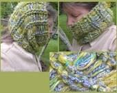 HAT ear warmer hood knit cowl scarf neckwarmer, women's SOFT cashmere merino wool, winter dread wrap, teal blue green yellow crochet i873