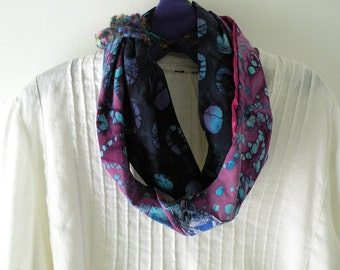 Crochet Scarf for women, woven cotton batik silk fabrics WITH knitting, multicolor long silk fashion pink purple blue leaf Lhasa 739