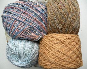 Yarn lot destash, 4 skein cotton blend FADED DENIM assortmen, pale blue peach pink orange tan gold white sportweight dk worsted bulky gauge