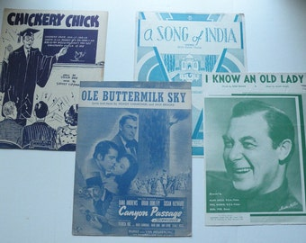 Scrapbooking paper ephemera, 4 antique vintage sheet music funky retro tunes from 1932-1956, decoupage office gift book Christmas gift