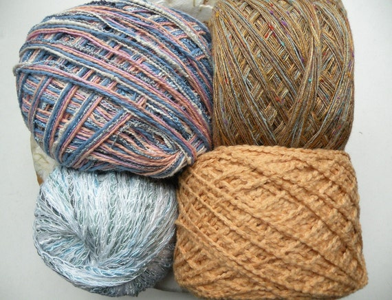 Yarn lot destash, 4 skein cotton blend FADED DENIM assortmen, pale blue peach pink orange tan gold white sportweight dk worsted bulky gauge