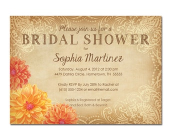 Dahlia Rhapsody Bridal Shower Invitations
