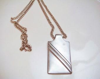 Vintage Modern Simplistic Pewter Pendant Necklace