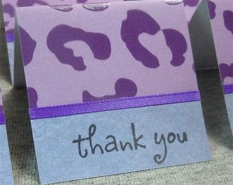 Purple Cheetah Print Mini Thank You Cards 2x2 (6)