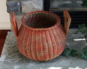 Antique Japanese IKEBANA BASKET Woven with 2 Unusual Handles