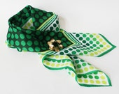Reserved - Vintage Green Polka Dot Scarf