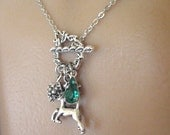 Deer Necklace, Stag Necklace, Silver Leaf Necklace, Pine Cone Necklace, Leaf Necklace, Pine Cone Jewelry, Handmade, Holiday Jewelry