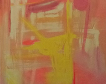 Original Art Abstract Painting Modern Art Pink Yellow Bright - Mistral - 18 x 24 on canvas