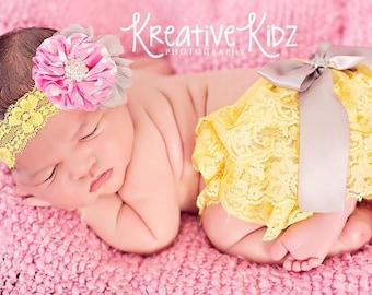 Newborn lace bloomer set { Lemon Drop } pink, gray Yellow Lace Ruffle bloomers, Cake Smash or First Birthday baby photography prop
