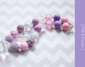 Chunky necklace { Pink & Purple } Easter, Winter, Sofia 1st First Birthday, Cake smash, Spring baby photography prop