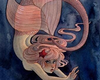 Pink Mermaid - 8x10 print