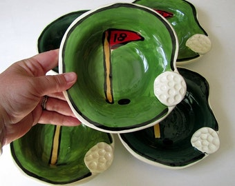 Handmade Pottery Golf Bowl green and flag with ball  by Artzfolk